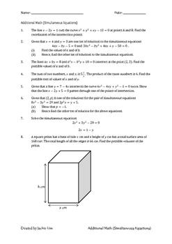 Singapore Additional Math for O-Level (Simultaneous Equations)
