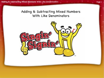 Adding and Subtracting Mixed Numbers with Like Denominator