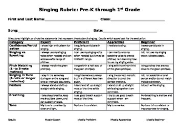 Singing Rubric for Choir, Voice, Vocal, Music, Evaluation,