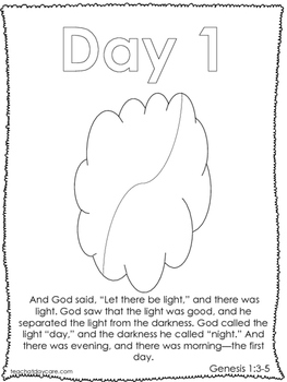 Single Bible Curriculum Worksheet. Days of Creation Day 1