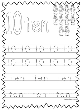Single Bible Curriculum Worksheet. Trace the Number 10 Pre