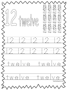 Single Bible Curriculum Worksheet. Trace the Number 12 Pre