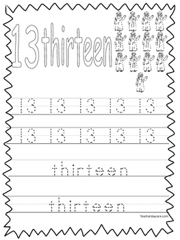 Single Bible Curriculum Worksheet. Trace the Number 13 Pre