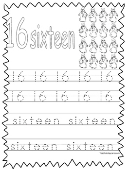 Single Bible Curriculum Worksheet. Trace the Number 16 Pre