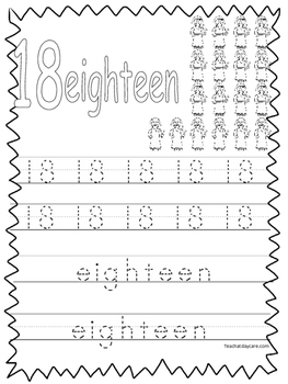 Single Bible Curriculum Worksheet. Trace the Number 18 Pre