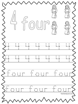 Single Bible Curriculum Worksheet. Trace the Number 4 Pres