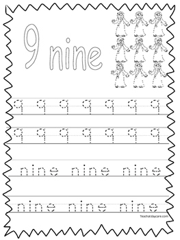 Single Bible Curriculum Worksheet. Trace the Number 9 Pres