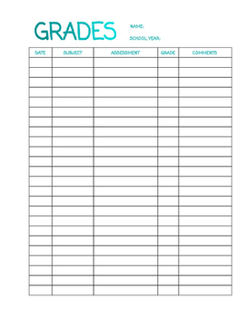 Single Child Gradesheet