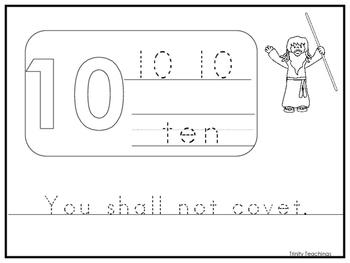 Single Commandment 10 Printable Worksheet. Preschool-Kinde
