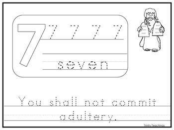 Single Commandment 7 Printable Worksheet. Preschool-Kinder