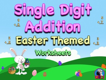 Single Digit Addition - Easter Themed Worksheets - Vertical