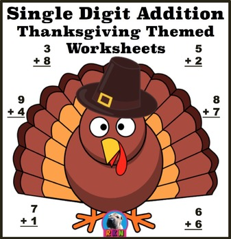 Single Digit Addition - Thanksgiving/Fall Themed Worksheet
