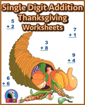 Single Digit Addition - Thanksgiving Themed Worksheets - Vertical