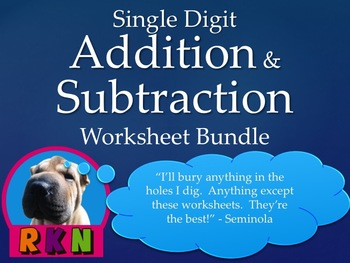 Single Digit Addition and Subtraction Worksheet Bundle (60 pages)