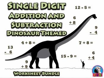 Single Digit Addition and Subtraction Worksheet Bundle - D