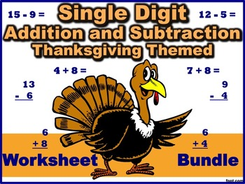 Single Digit Addition and Subtraction Worksheet Bundle - T