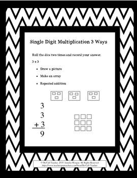 Single Digit Multiplication 3 ways
