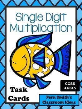 Multiplication Task Cards for Single Digit Multiplication