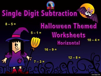 Single Digit Subtraction - Halloween Themed Worksheets - H