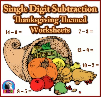 Single Digit Subtraction - Thanksgiving Themed Worksheets