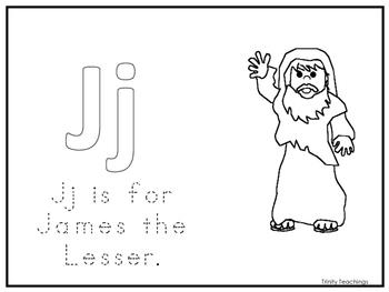 Single Disciple James the Lesser  Worksheet.  Preschool-Ki