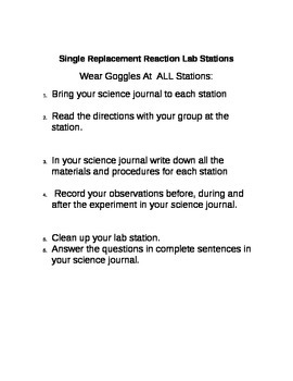 Single Replacement Chemical Reactions Lab Stations