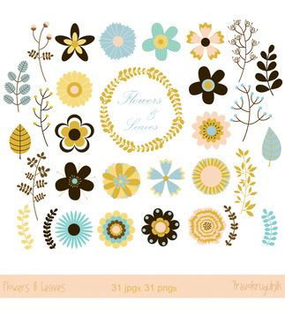 Single flowers clipart, Floral clip art set, Vintage retro