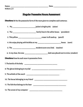 Singular Possessive Nouns Assessment