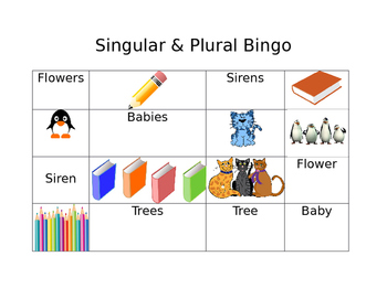 Singular and Plural Bingo