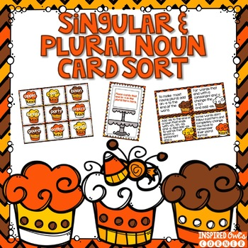 Fall Themed Singular and Plural Nouns Task Cards and Writi