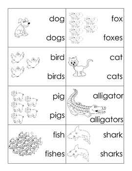 Singular/Plural Animal Cards - Common Core