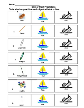 Sink or Float Experiential Literacy Sheet