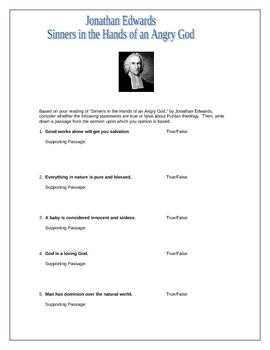 Printables Sinners In The Hands Of An Angry God Worksheet sinners in the hands of an angry god worksheet by julie moore wanswers edwards