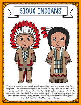 Sioux Indians Coloring Page Activity and Poster, Native Am
