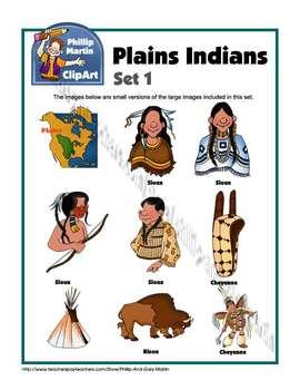 Sioux and Cheyenne, Plains Indians Clip Art Set 1