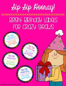Sip Sip Hooray! Crazy Straw Birthday Labels in Black & Bri
