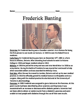 Sir Frederick Banting - Informational article lesson facts