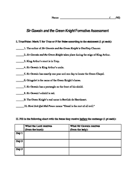Sir Gawain and the Green Knight Formative Assessment