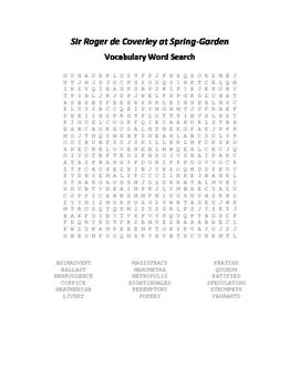Sir Roger de Coverley at Spring Garden Vocabulary Word Sea