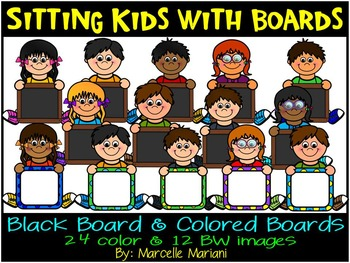 Sitting kids holding boards- kids with signs clip art- Com