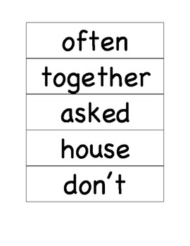 Sitton Spelling Unit 4 Core Words for pocket chart