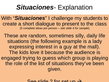 Situaciones - Situations (Foreign Language Speaking Activity)