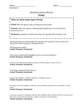 Situational, Verbal, Dramatic Irony Worksheet