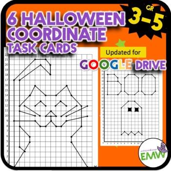 Halloween Math Activity Coordinate Drawing Task Cards