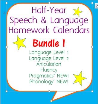 Six-Month Speech Homework Calendar Bundle 1