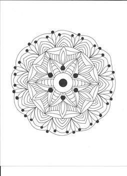 Six Point Geometrical Mandala Coloring Page.