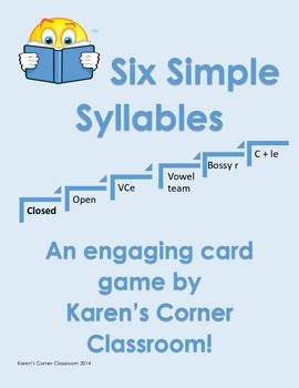 Six Simple Syllables - Closed Syllables Card Game