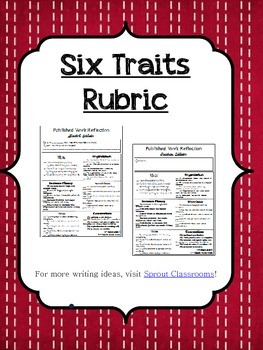 Six Traits Published Piece Reflection Checklist {Writing Rubric}