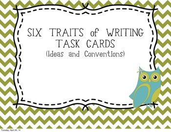 Six Traits of Writing TASK CARDS - grade 4 (Ideas and conv