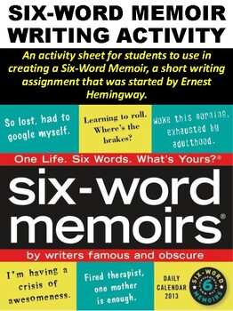 FREE Six-Word Memoir Writing Activity by Mz S